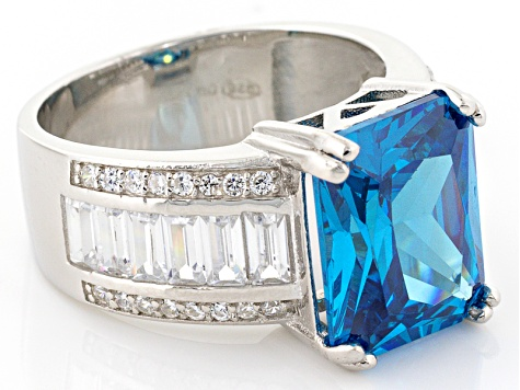 Blue And White Cubic Zirconia Rhodium Over Sterling Silver Ring 13.82ctw