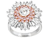 Pink And White Cubic Zirconia Rhodium And 18k Rg Over Sterling Ring 6.44ctw