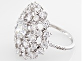 White Cubic Zirconia Rhodium Over Sterling Silver Ring 6.45ctw
