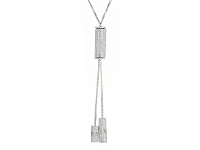 White Cubic Zirconia Rhodium Over Sterling Silver Adjustable Necklace 5.78ctw