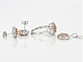 Brown And White Cubic Zirconia Rhodium Over Sterling Silver Jewelry Set 2.71ctw