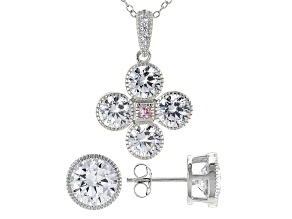 Pink And White Cubic Zirconia Rhodium Over Sterling Silver Jewelry Set 12.22ctw
