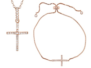 White Cubic Zirconia 18k Rg Over Silver Cross Pendant With Chain And Adjustable Bracelet .57ctw
