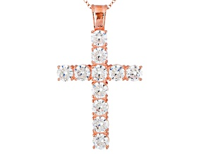 White Cubic Zirconia 18k Rose Gold Over Sterling Silver Cross Pendant With Chain 8.26ctw