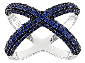 Blue Cubic Zirconia Rhodium Over Sterling Silver Ring 2.30ctw