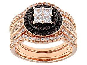 White And Brown Cubic Zirconia 18k Rg And Black Rhodium Over Sterling Ring With Bands 1.75ctw