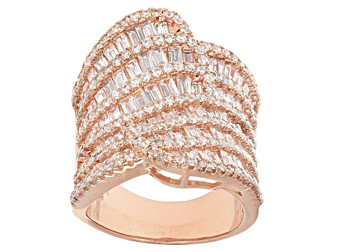 White Cubic Zirconia 18k Rose Gold Over Sterling Silver Ring 6.97ctw