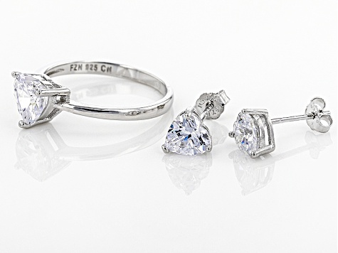 White Cubic Zirconia Rhodium Over Sterling Silver Heart Ring And Earrings 4.20ctw