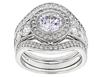 Picture of White Cubic Zirconia Rhodium Over Sterling Silver Ring With Bands 3.81ctw