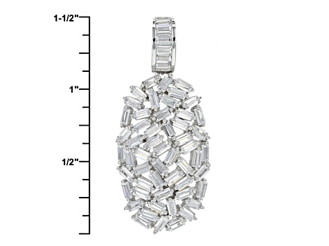 White Cubic Zirconia Rhodium Over Sterling Silver Pendant With Chain 5.82ctw