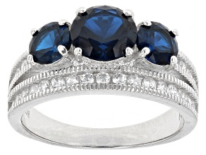 Blue And White Cubic Zirconia Rhodium Over Sterling Silver Ring 4.11ctw