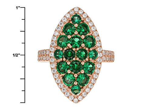 Green And White Cubic Zirconia 18k Rg Over Sterling Silver Ring 3.71ctw