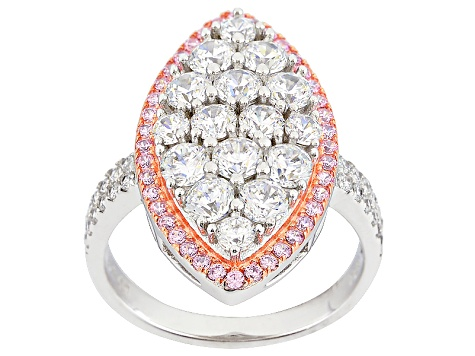 Pink And White Cubic Zirconia Rhodium And 14k Rg Over Sterling Silver Ring 3.71ctw