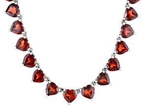 75.40ctw Heart Shape Vermelho Garnet™ Rhodium Over Sterling Silver Necklace