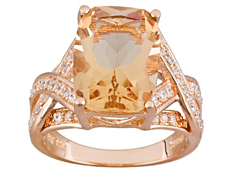 Womens Cocktail Ring Bella Luce Morganite Simulant 5ctw 18kt Rose Gold Over Silver