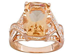 Morganite Simulant & White Cubic Zirconia 18kt Rose Gold Over Silver 5.78ctw