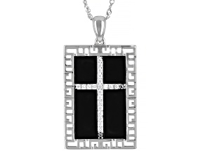 White Cubic Zirconia Rhodium Over Sterling Silver Men's Cross Pendant With Chain 0.39ctw