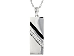 White Cubic Zirconia Rhodium Over Sterling Silver Men's Pendant With Chain 0.26ctw