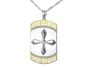 White Cubic Zirconia Rhodium And 18K Yellow Gold Over Sterling Silver Men's Cross Pendant With Chain