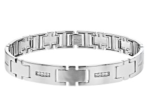 White Cubic Zirconia Rhodium Over Sterling Silver Men's Bracelet 0.61ctw