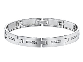 White Cubic Zirconia Rhodium Over Sterling Silver Men's Bracelet 0.76ctw