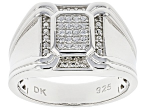 White Cubic Zirconia Rhodium Over Sterling Silver Men's Ring 0.34ctw