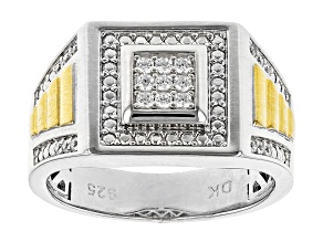 White Cubic Zirconia Rhodium And 18K Yellow Gold Over Sterling Silver Men's Ring 0.46ctw