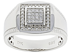 White Cubic Zirconia Rhodium Over Sterling Silver Men's Ring 0.30ctw