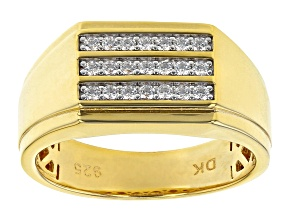 White Cubic Zirconia 18K Yellow Gold Over Sterling Silver Men's Ring 0.61ctw