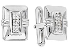 White Cubic Zirconia Rhodium Over Sterling Silver Men's Cufflinks 0.45ctw