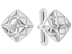 White Cubic Zirconia Rhodium Over Sterling Silver Men's Cufflinks 0.29ctw