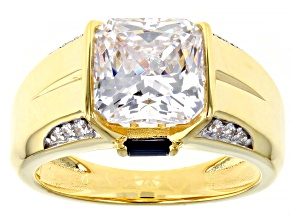 White Cubic Zirconia And Lab Created Blue Sapphire 18K Yellow Gold Over Sterling Silver Men's Ring