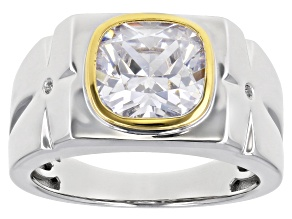 White Cubic Zirconia Rhodium And 14K Yellow Gold Over Sterling Silver Mens Ring 5.47ctw