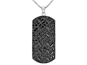 Black Cubic Zirconia Rhodium Over Sterling Silver Men's Pendant With Chain 6.87ctw