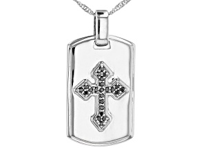 Black Cubic Zirconia Rhodium Over Sterling Silver Men's Pendant With Chain 0.37ctw