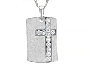 White Cubic Zirconia Rhodium Over Sterling Silver Men's Pendant With Chain 1.32ctw