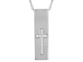 White Cubic Zirconia Rhodium Over Sterling Silver Men's Pendant With Chain 0.30ctw