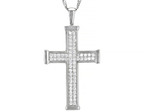 White Cubic Zirconia Rhodium Over Sterling Silver Men's Pendant With Chain 0.90ctw