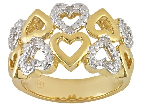 Diamond 18K Yellow Gold Over Brass 2 Row Heart Ring .10ctw