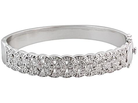 Diamond Rhodium Over Brass Interwoven Circles Bangle Bracelet 25ctw Brd159 Jtv Com