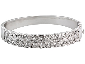 Diamond Rhodium Over Brass Interwoven Circles Bangle Bracelet .25ctw