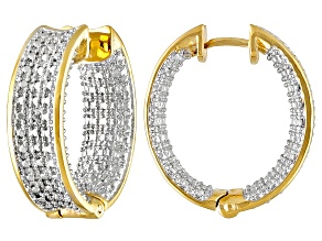 Diamond Accent 18k Yellow Gold Over Brass Inside-Outside Hoop Earrings