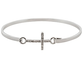 White Diamond Rhodium Over Brass Bracelet 0.10ctw