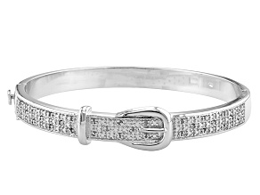 White Round Diamond Rhodium Over Brass Bracelet 0.25ctw