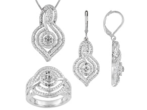 Emulous™ .25ctw Round Diamond Rhodium Over Brass Ring, Earrings, & Pendant With 18