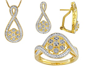 Diamond 14k Yellow Gold Over Brass Set Of 3 .10ctw