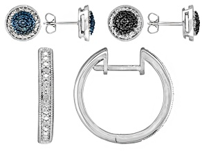 Blue, Black, And White Diamond Rhodium Over Brass Earrings 0.14ctw