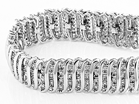 White Diamond Rhodium Over Brass Bracelet 2.00ctw