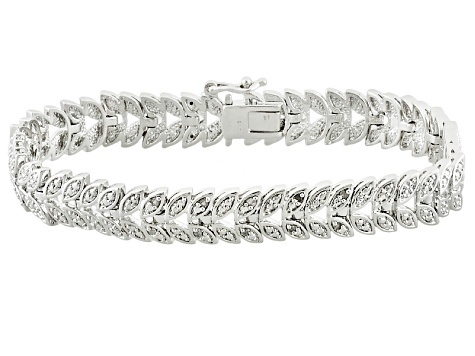 Diamond Rhodium Over Brass Bracelet .10ctw