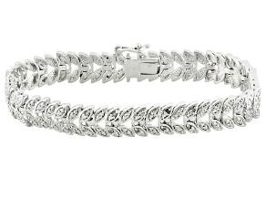 Diamond Rhodium Over Brass Bracelet .10ctw